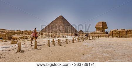 Giza Plateau With The Giza Pyramid Complex In Cairo, Egypt