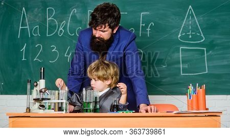 Teacher Bearded Man And Boy Chemical Laboratory. Happy Teachers Day. Knowledge Day. Basic Level Chem