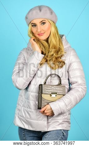Stylish Accessories. Fashionable Woman In Jacket. Spring Fashion. Female Wear Beret. Handbag Or Purs