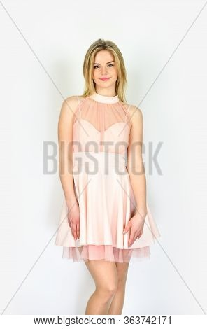 Dress How You Want To Be Addressed. Tender Woman In Cute Dress. Adorable Blonde. Pretty Girl. Fashio