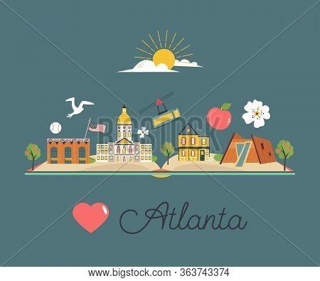 Tourist Poster, Banner With Symbols Of Atlanta