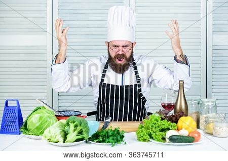 Guy In Professional Uniform Ready Cook. Master Chef Concept. Culinary Challenge. Chef Handsome Hipst
