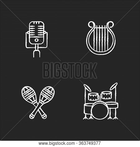 Band Musical Instruments Chalk White Icons Set On Black Background. Vintage Microphone. Greek Lyra.