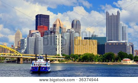 Skyscrapers in downtown at the waterfront of PIttsburgh, Pennsylvania, USA.