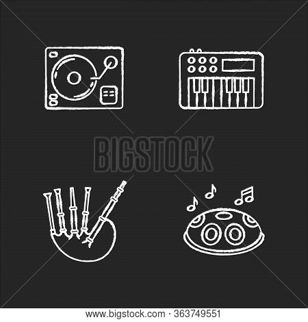 Musical Instruments Chalk White Icons Set On Black Background. Turntablism For Dj Party Performance.