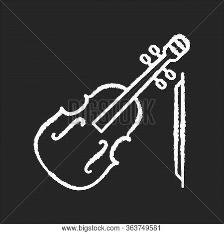 Violin Chalk White Icon On Black Background. Orchestral Musical Instrument. Classical Music Performa