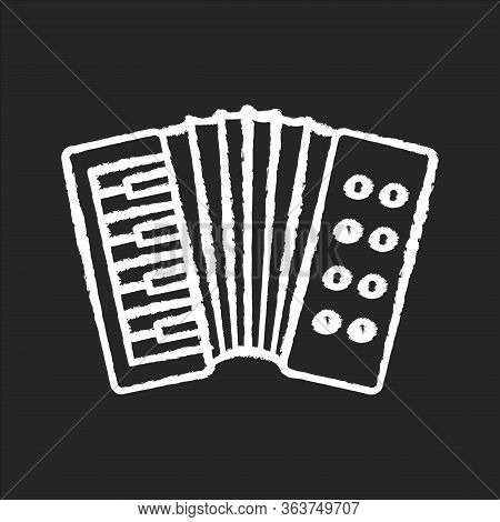 Accordion Chalk White Icon On Black Background. Classical Musical Instrument To Play Folk. Live Orch