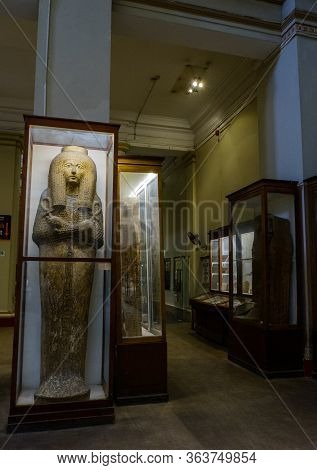 Cairo / Egypt - May 25, 2019: Ancient Egyptian Sarcophagi And Mummy Caskets Displayed In The Museum