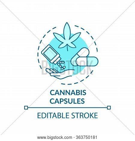 Cannabis Capsule Concept Icon. Medical Marijuana, Mmj Treatment Idea Thin Line Illustration. Capsule