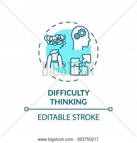 Difficulty Thinking Concept Icon. Marijuana, Psychoactive Drug Use Effect Idea Thin Line Illustratio