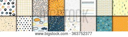 Set Of 16 Scandinavian Seamless Vector Patterns. Collection Of Pastel Multicolor Scandinavia Ornamen
