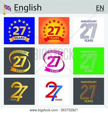 Set Of Number Twenty-seven Years (27 Years) Celebration Design. Anniversary Vector Number Template E