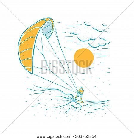 Kite Surfing. Sketch Vector White Illustration With Hand Drawn Kite Surfer, Clouds, Wave. Water Spor
