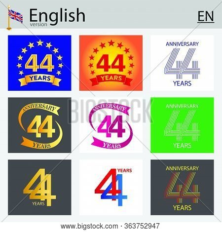 Set Of Number Forty-four Years (44 Years) Celebration Design. Anniversary Vector Number Template Ele