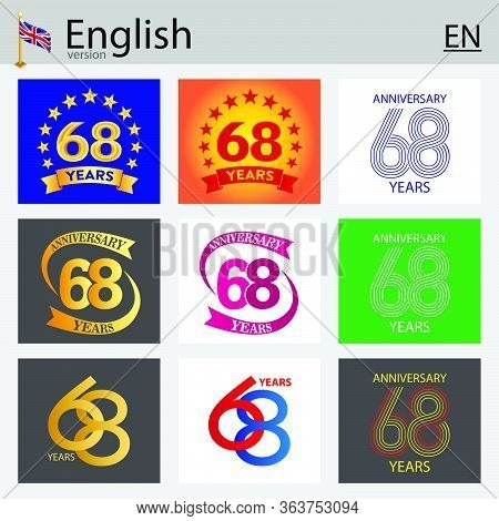 Set Of Number Sixty-eight Years (68 Years) Celebration Design. Anniversary Vector Number Template El