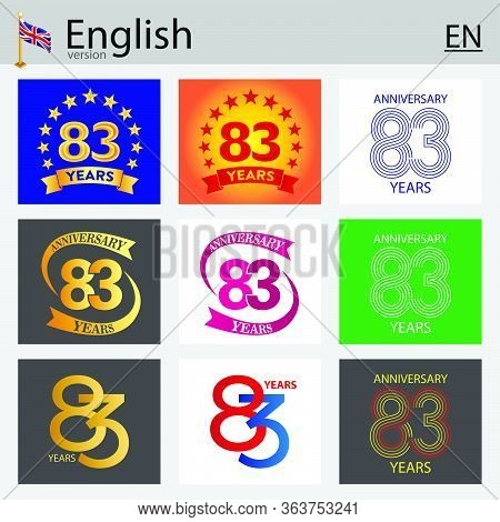 Set Of Number Eighty-three Years (83 Years) Celebration Design. Anniversary Vector Number Template E