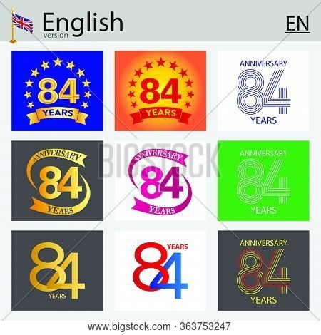 Set Of Number Eighty-four Years (84 Years) Celebration Design. Anniversary Vector Number Template El