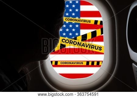 Do Not Cross.barrier Tape-quarantine, Isolation.a Woman Looks Out Of The Window Of The Plane, And Se