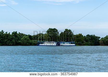 Danube Delta, Romania - August 15, 2019: Beautiful Landscape In Danube Delta, Boat Restaurant And Lu
