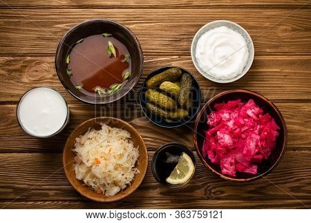 Top View Of Assorted Fermented Foods And Drinks, Sources Of Probiotics Great For Healthy Gut And Dig