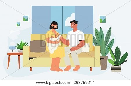Happy Family Sitting On Sofa In Renovated Apartment With Trendy Interior And Furniture With House Pl