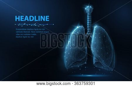 Lung. Abstract Vector 3d Lungs Isolated On Blue Background. Human Health, Respiratory System, Pneumo