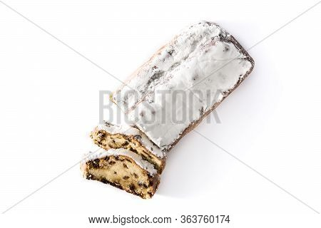 Christmas Stollen Fruit Slice Isolated On White Background. Top View
