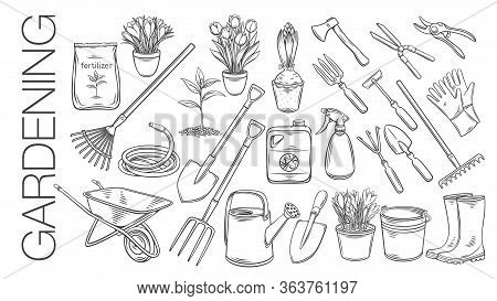 Gardening Tools And Plants Or Flowers Outline Icons. Engraved Vector Of Rubber Boots, Seedling, Tuli