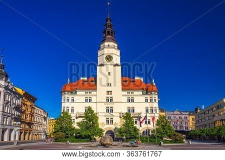 Upper Square With The City Hall In Opava Town, Czech Republic, Europe.