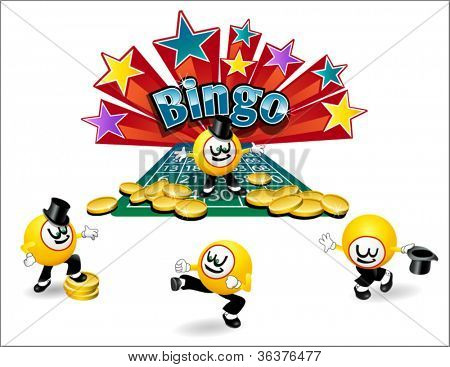 original illustrated bingo ball character with variety of poses