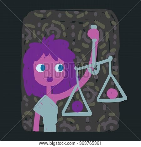 Libra. Funny Zodiac Sign. Colorful Vector Illustration Of Pink-violet Girl With Scales In Hand-drawn
