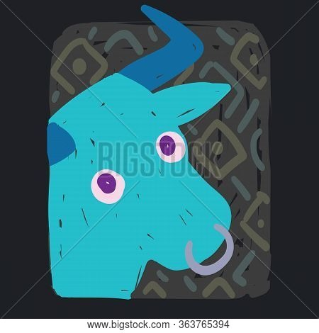 Taurus. Funny Zodiac Sign. Colorful Vector Illustration Of Turquoise Bull Face In Hand-drawn Sketch