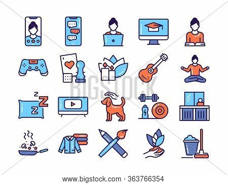 Home Leisure Line Color Icons Set. Homework: Cleaning, Cooking, Yoga. Isolated Vector Element.