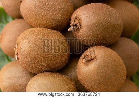 Whole Hairy Kiwi Fruits Closeup. Bunch Of Brown Fresh Ripe Kiwifruits. Agriculture Or Organic Food C