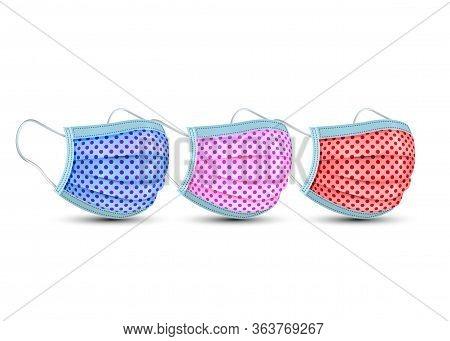 Medical Face Mask , Safety Surgical Mask , Colorful Fashion Cotton Mask For Corona Virus, Polka Dots