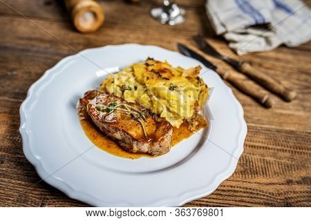 Pork Meat Sous Vide And Baked Potatoes