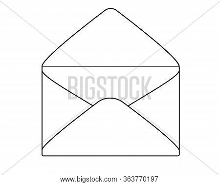 Open Envelope - A Vector Linear Picture For Coloring. Open Envelope Mail Envelope - A Linear Image F