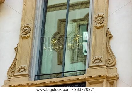 Milan, Italy, September 29, 2015 : The Ornate Window Of Seven Stars Hotel Located Inside Of The Gall