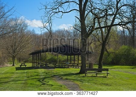 A Picnic Shelter In A Public Park Has Been Roped Off To Prevent Close Gatherings During The Covid-19