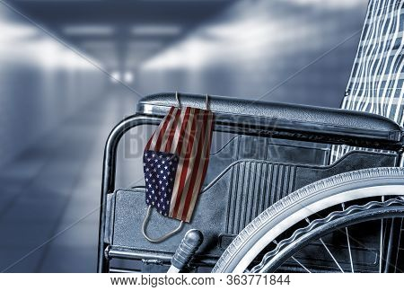 3d Rendering Of Flag Of United States On Face Mask Hanging On Empty Wheelchair In Hallway Of America