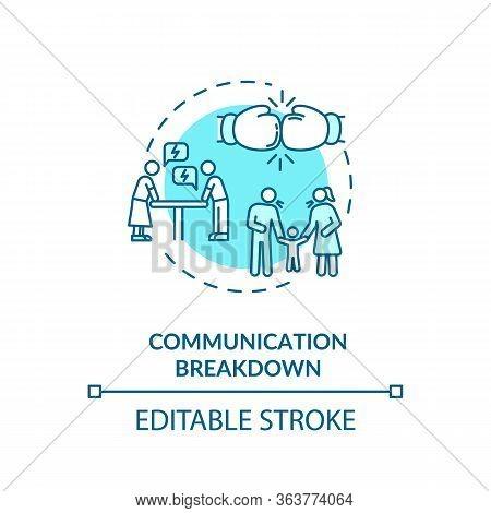 Communication Breakdown Concept Icon. Family Quarrel, Partners Conflict Idea Thin Line Illustration.