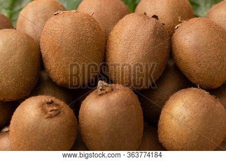 Whole Brown Kiwi Fruits Closeup. Pile Of Hairy Fresh Ripe Kiwifruits. Agriculture Or Organic Food Co