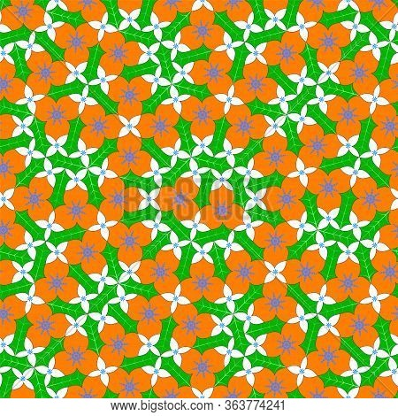 Bright Abstract Flowers Seamless Pattern, Tessellation. Vector Illustration Eps 10