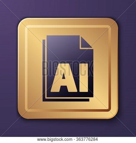 Purple Ai File Document. Download Ai Button Icon Isolated On Purple Background. Ai File Symbol. Gold