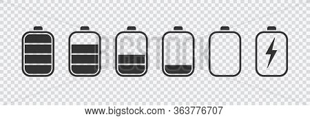 Battery Icons Set. Battery Charging Charge Indicator Icon. Level Battery Energy. Alkaline Battery Ca