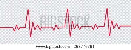 Red Heartbeat Line Icon. On Flat Style On Transparent Background Vector Eps 10