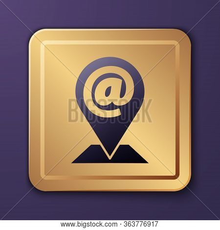 Purple Location And Mail And E-mail Icon Isolated On Purple Background. Envelope Symbol E-mail. Emai