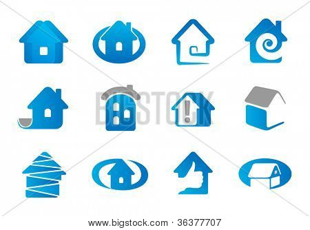 House. Set elements for use as a emblem or icon