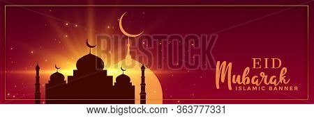 Eid Mubarak Occasion Banner Vector Design Illustration