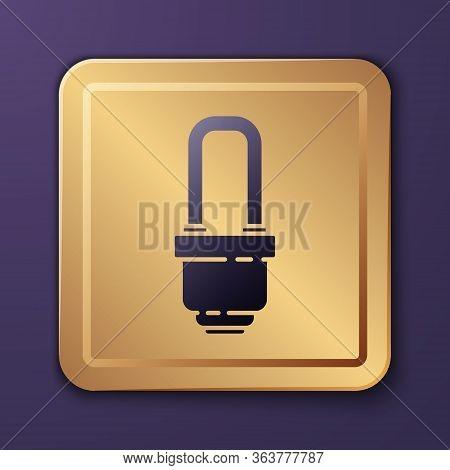 Purple Led Light Bulb Icon Isolated On Purple Background. Economical Led Illuminated Lightbulb. Save
